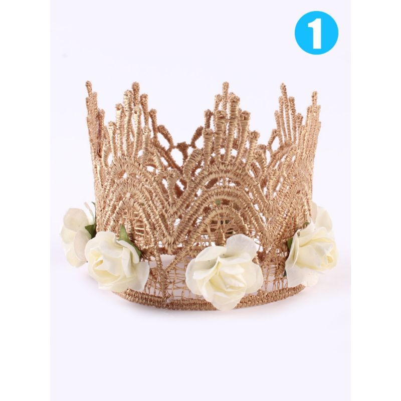 2-PACK Baby Girl Flower Trimmed Party Princess Crown Pattern Hair Accessory