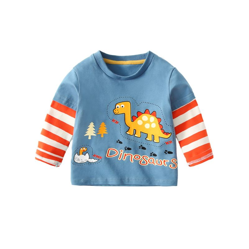 Toddler Big Boys Cartoon Dinosaur Striped Long-sleeved T-shirt Kids Spring Collection