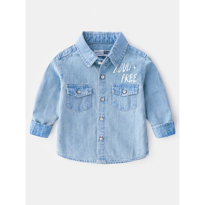 6-PACK Fashion Toddler Big Boys Spring Long-sleeved Letters Print Denim Shirt