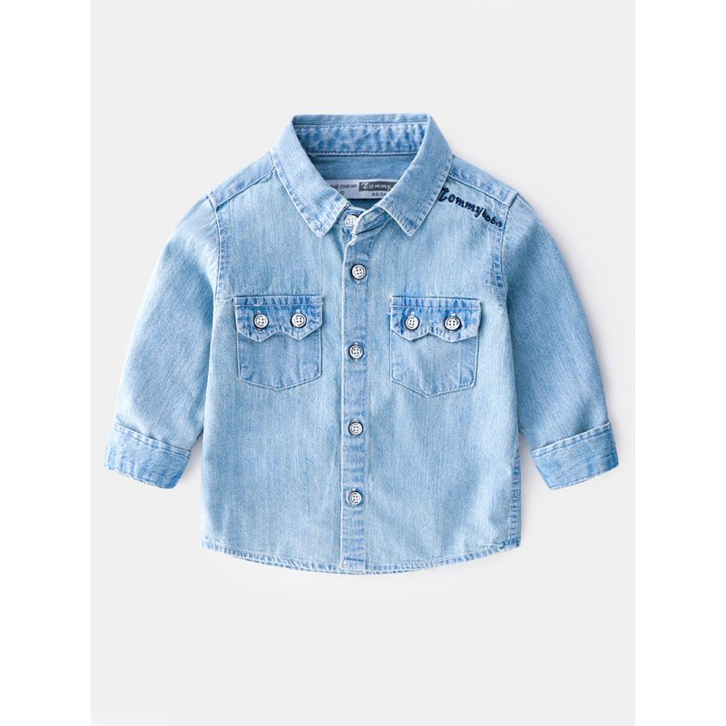 6-PACK Stylish Spring Toddler Big Boys Frayed Light Blue Denim Shirt Kids Spring Collection