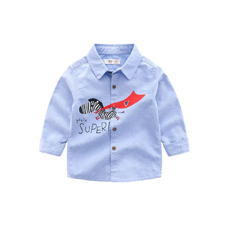 5-PACK Fashion Little Big Kids You're Super Zebra Print Casual Shirt Spring Boys Collection