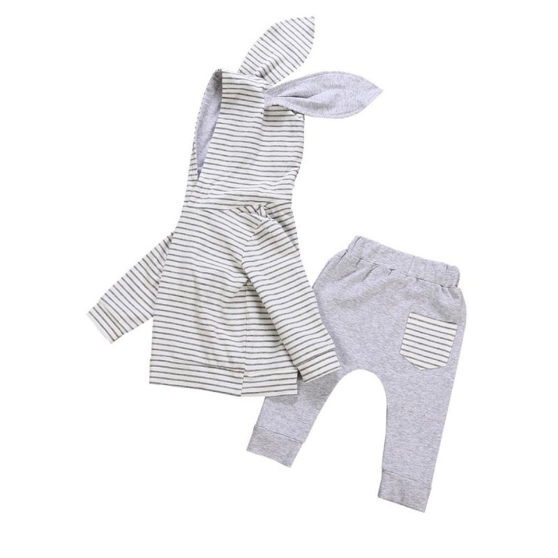 2-piece Spring Infant Bunny Ear Hoodie Pants Outfits Set Baby Easter Costume