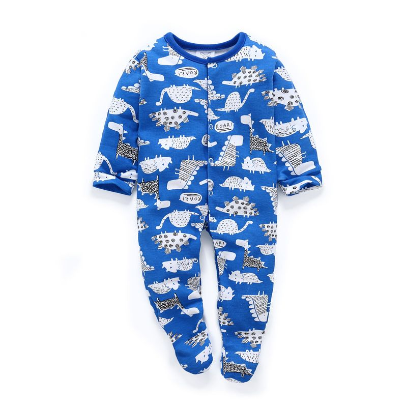 Spring Newborn Baby Cartoon Dinosaur/Rainbow Print Footed Sleepsuit Overalls
