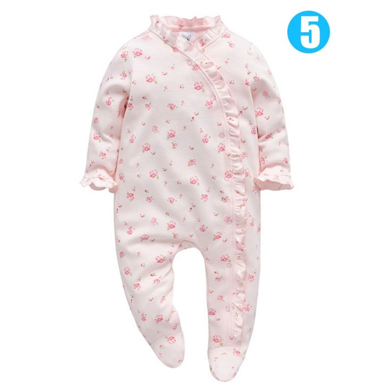 Spanish Style Infant Girl Flower/Star Print Frilled Long-sleeved Footed Overalls Jumpsuit