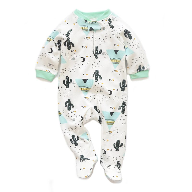 Cute Spring Cactus Print Newborn Infant Cotton Footed Sleepsuit Overalls