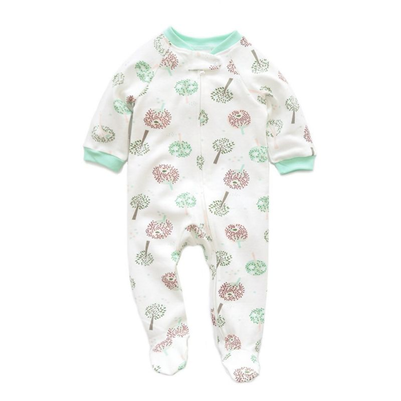 Spring Newborn Baby Tree Print Footed Sleepsuit Romper