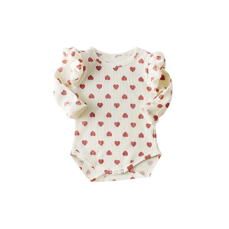 Spring Spanish Style Long Flutter Sleeve Love Heart Print Baby Bodysuit