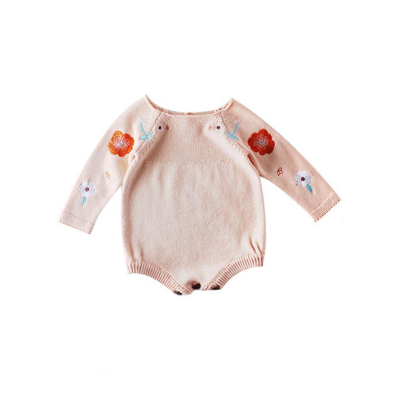 Spring Flower Crochet Spanish Style Baby Girl knit Romper Onesie