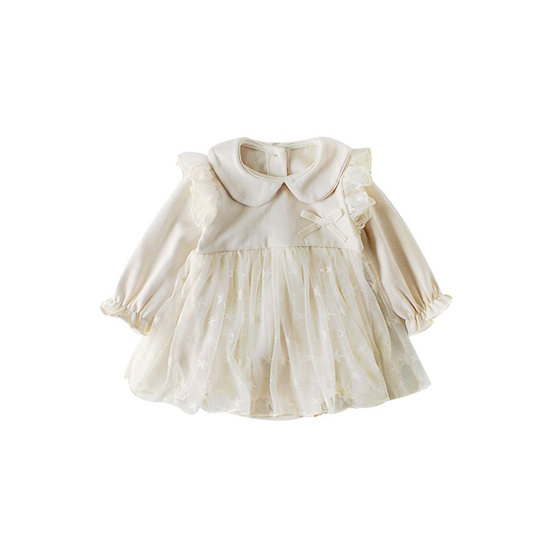 Spanish Style Peter Pan Collar Tulle Patchwork Baby Girl Birthday Party Dress