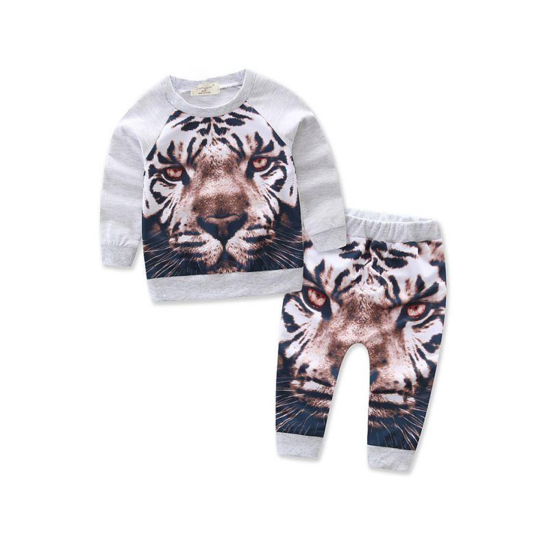 2-piece Stylish Spring Baby Boys Tiger Print Jumper +Pants Set