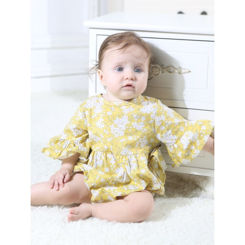 Floral Short Bell-sleeve Bow Baby Girl Bodysuit Onesie