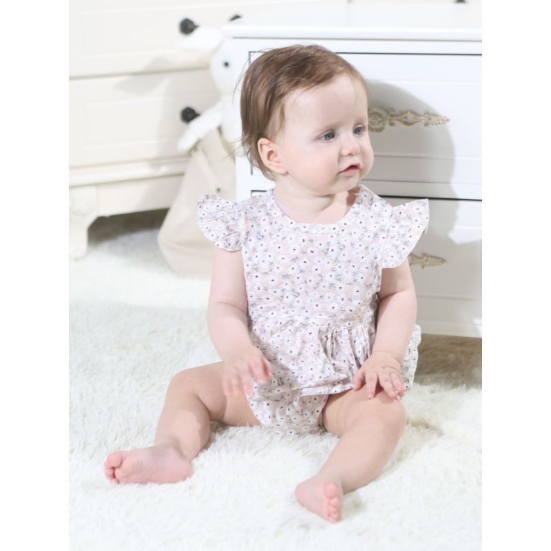 Summer Floral Short Flutter Sleeve Infant Romper Bodysuit