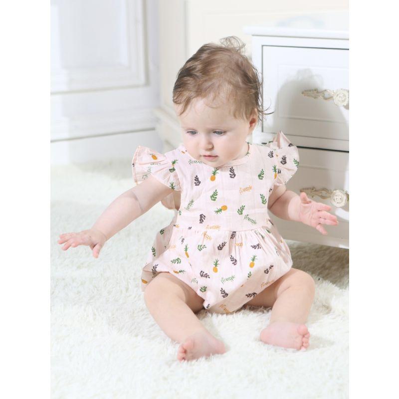 Pineapple Print Short Flutter Sleeve Baby Girl Summer Bodysuit