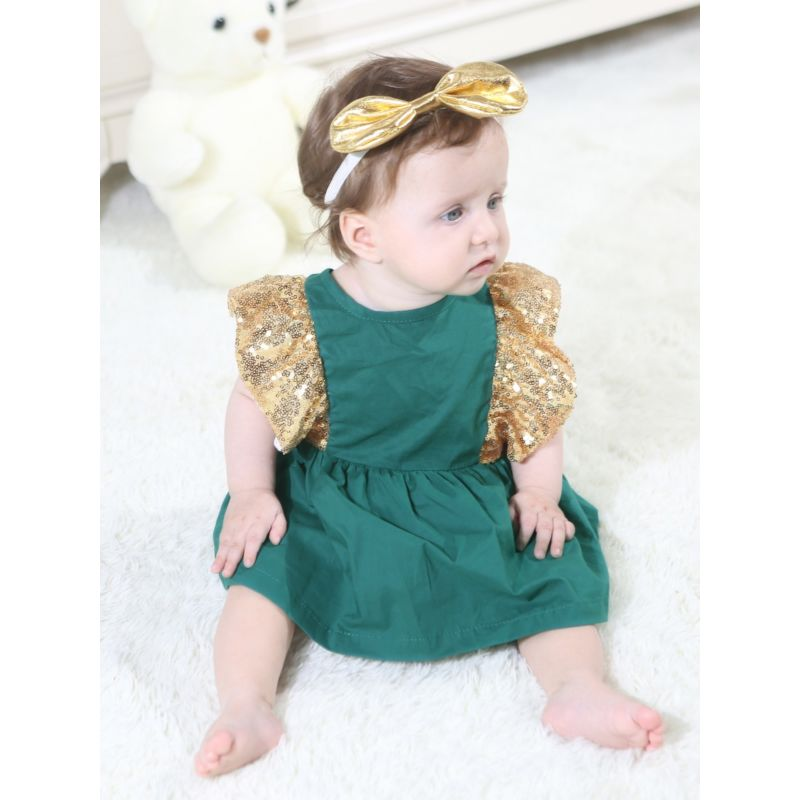 Fashion Infant Girl Gold Sequin Flutter Sleeve Big Bowknot Party Romper Dress for Summer