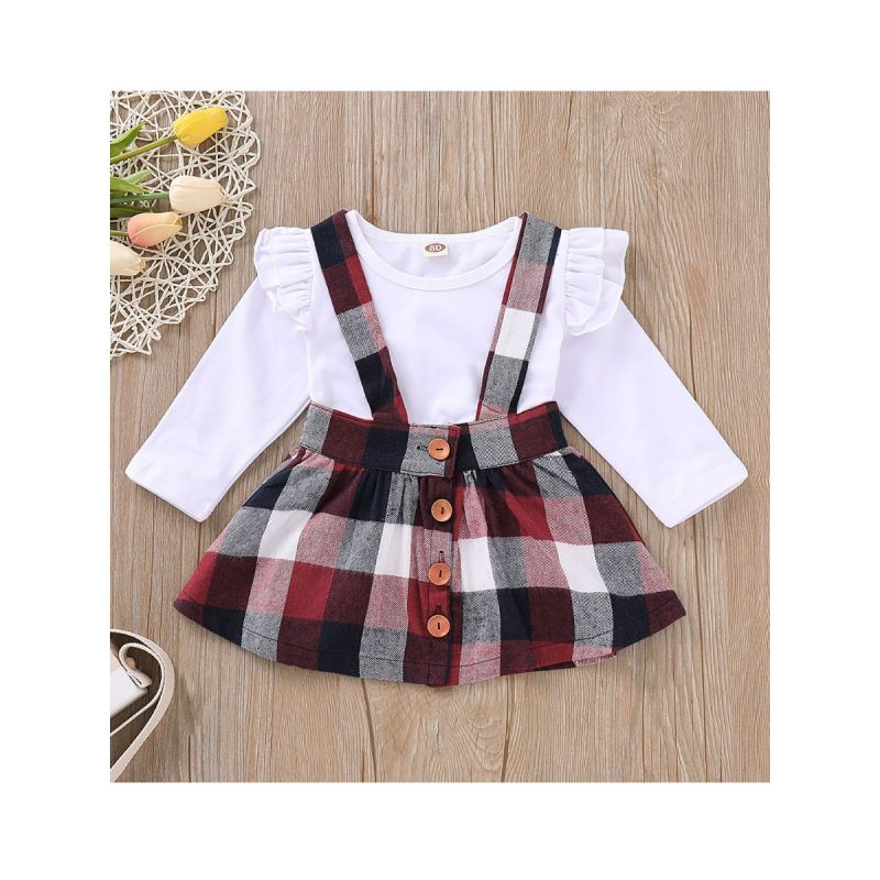 Spring 2-piece British Style Baby Little Girl Clothes Outfits Set Long Flutter Sleeve White T-shirt + Buttoned Gingham Jumper Skirt