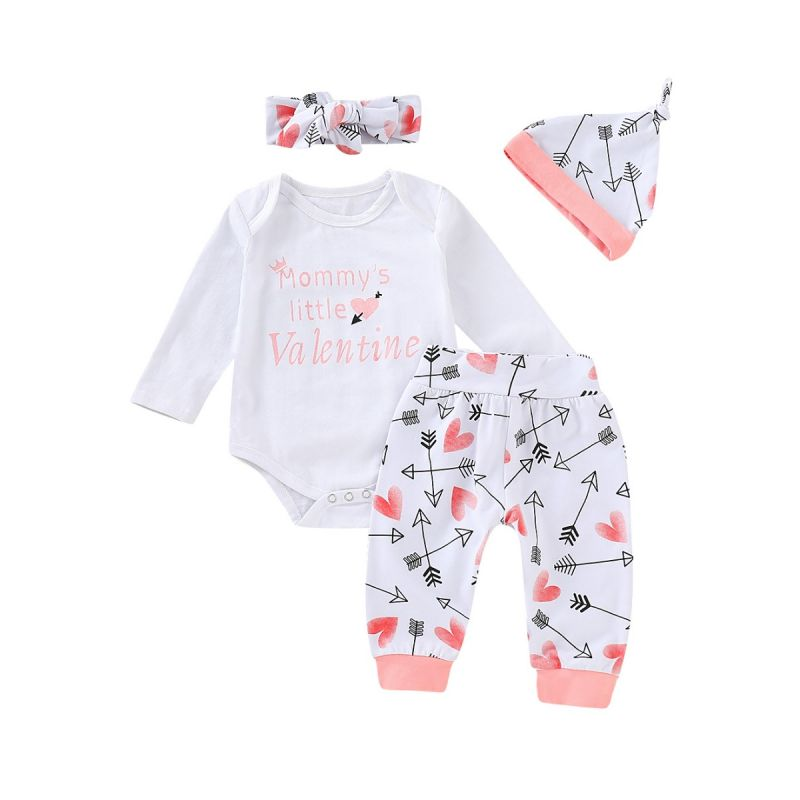 4-piece Baby Girl Clothes Outfits Set MOMMY'S LITTLE VALENTINE Letters Print Long-sleeved Bodysuit +Love Heart Arrow Trouser +Headband +Hat