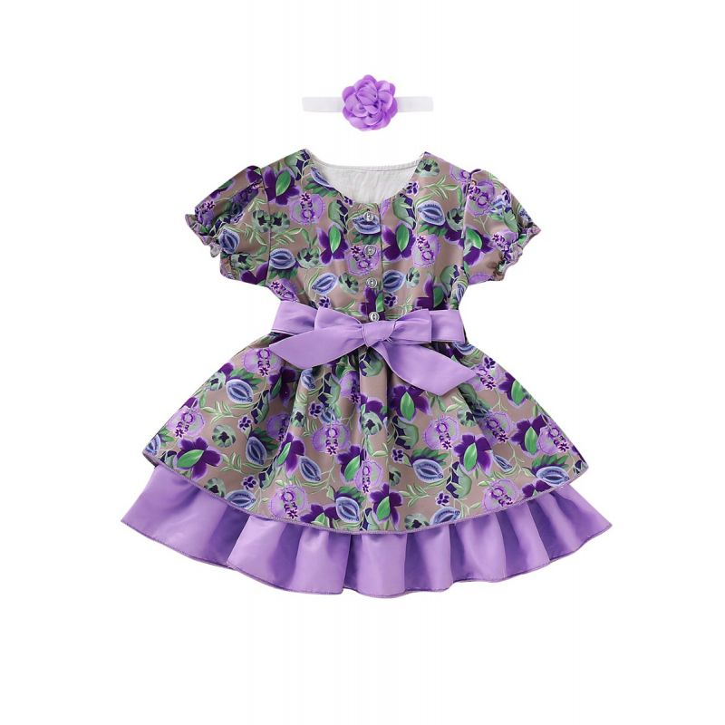 Baby Little Girl Flower Print Vintage Summer Party Dress with Flower Headband