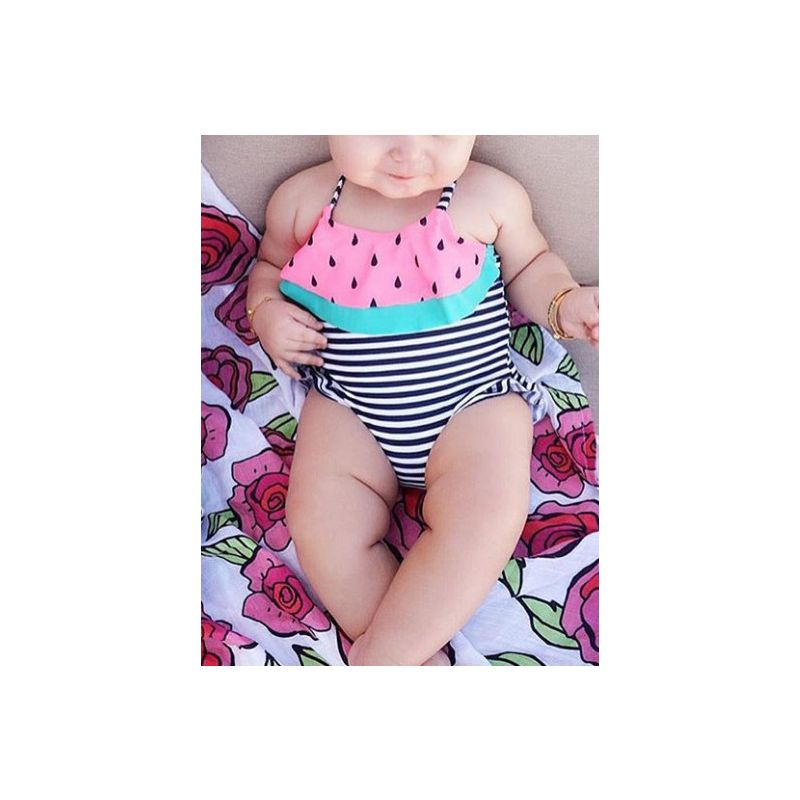 Baby Toddler Girl Summer Watermelon Style Striped One Piece Swim Suit