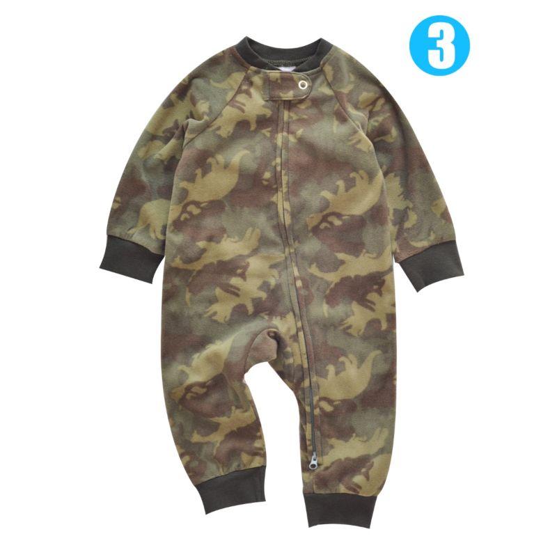 Cartoon Print Zip Babyboy Baby Girl Polar Fleece Overalls Jumpsuit