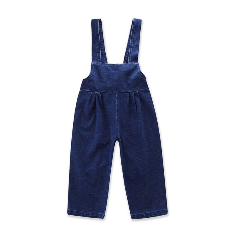 European Style Vintage Toddler Big Girls Suspender Denim Trousers