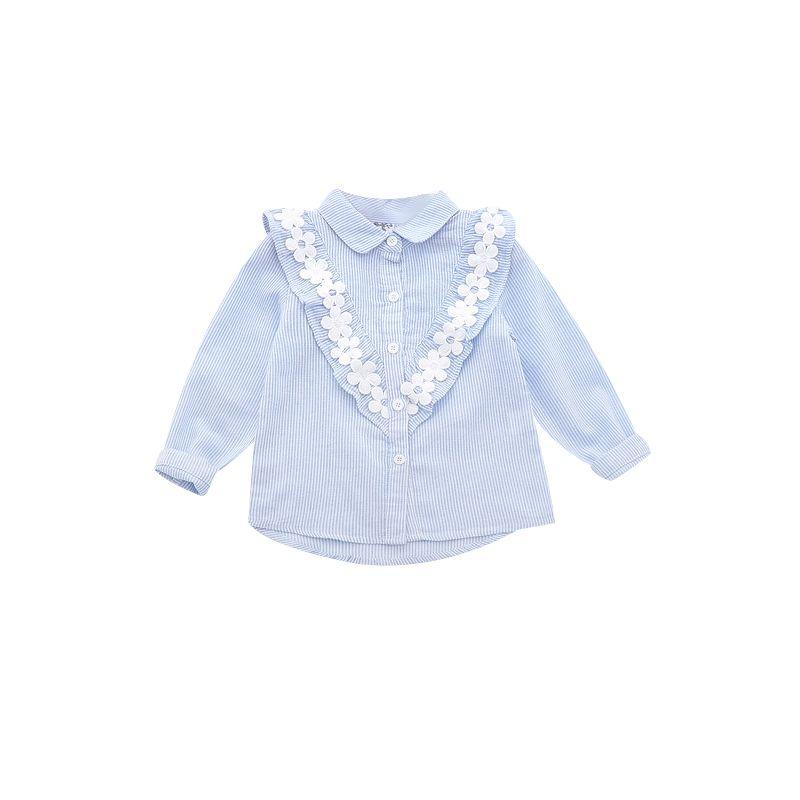6-PACK Spring Spanish Style Little Big Girls Flower Trimmed Frilled Striped T-shirt