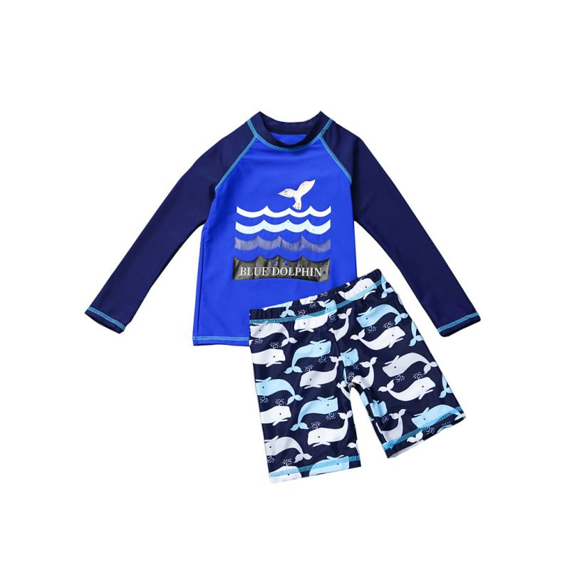 2-piece Blue Dolphin Print Wetsuit Sun Protection Swimwear Set Top + Bottom