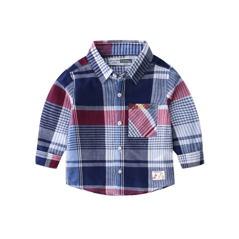 6-PACK Toddler Big Boys Long-sleeved Gingham T-shirt Children Spring Collection