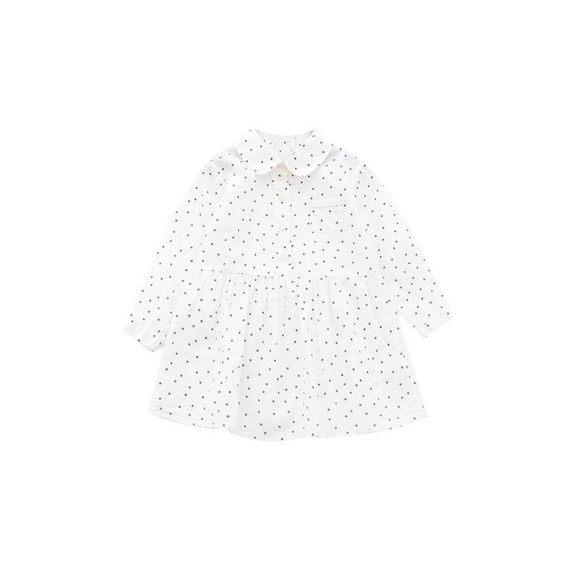 5-PACK Little Big Girl Long-sleeved Polka Dots Buttoned Babydoll Dress