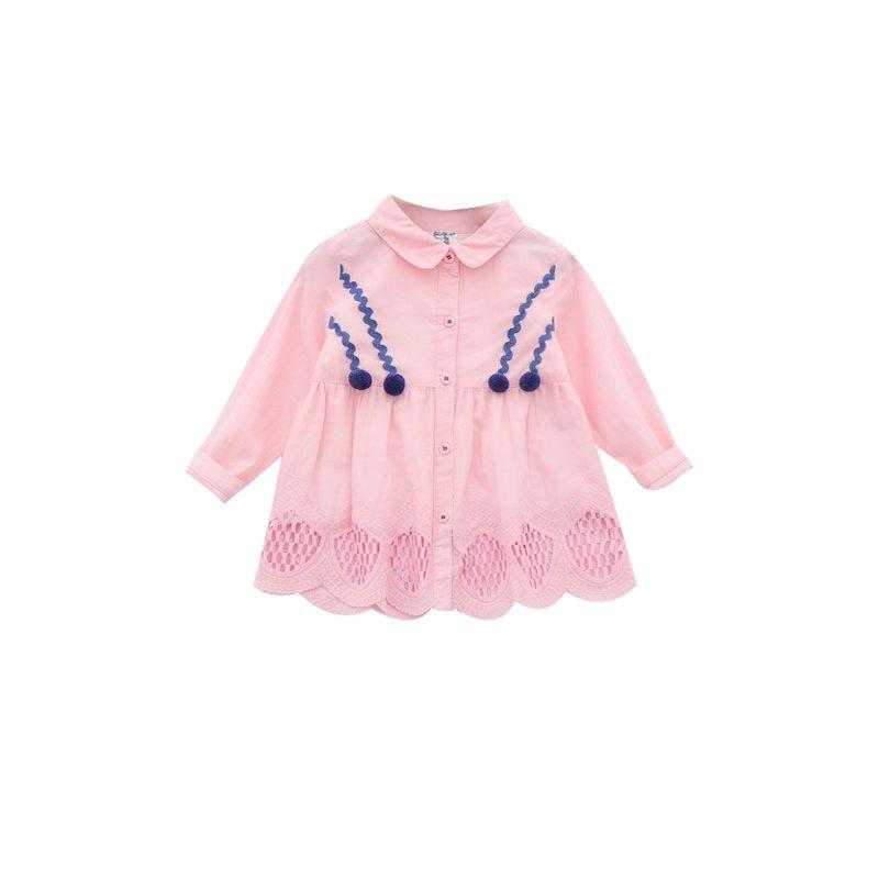 6-PACK Spring Little Big Girls Spanish Style Pom Pom Trimmed Babydoll Dress