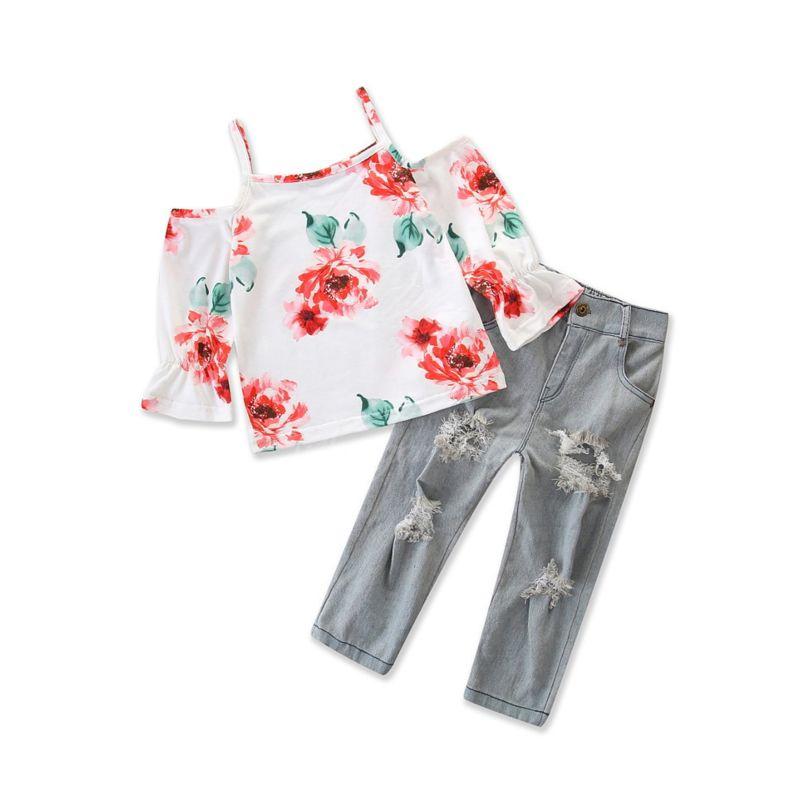 2-piece Fashion Baby Little Girl Flower Print Off Shoulder Suspender Top+Frayed Jeans Set