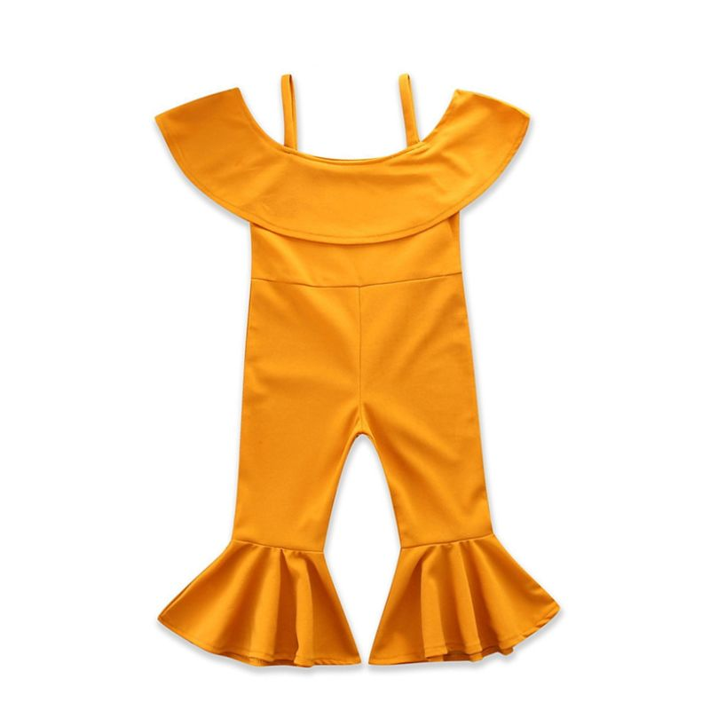 Fashion Infant Little Girl Yellow Suspender Flared Jumpsuit Kids Overalls