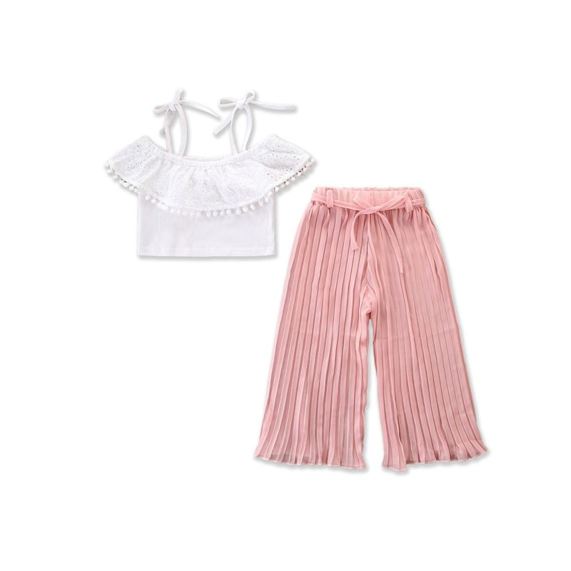 2-piece White Pom Pom Trimmed Pierced Crop Top+ Pink Loose Pants Set