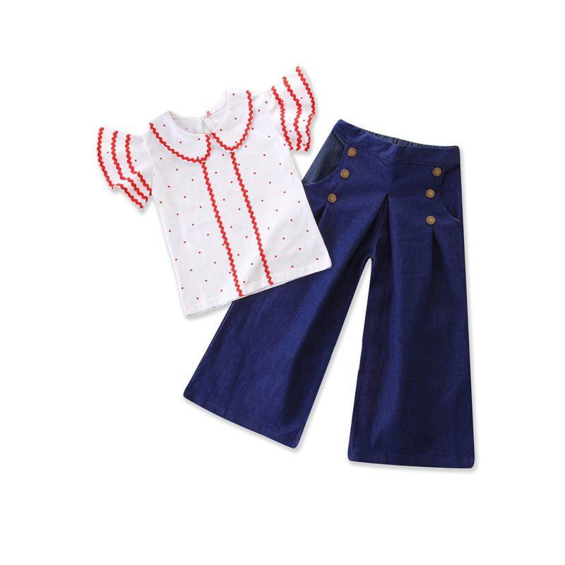 2-piece Fashion Baby Toddler Girl Peter Pan Collar Short Bell-sleeve Top +Denim Loose Pants Set