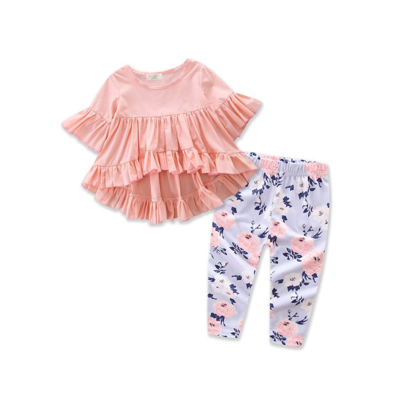 2-piece Stylish Baby Girl Ruffle Short-sleeved Asymmetrical Hem Tunic Dress Top + Flower Leggings Pants Set