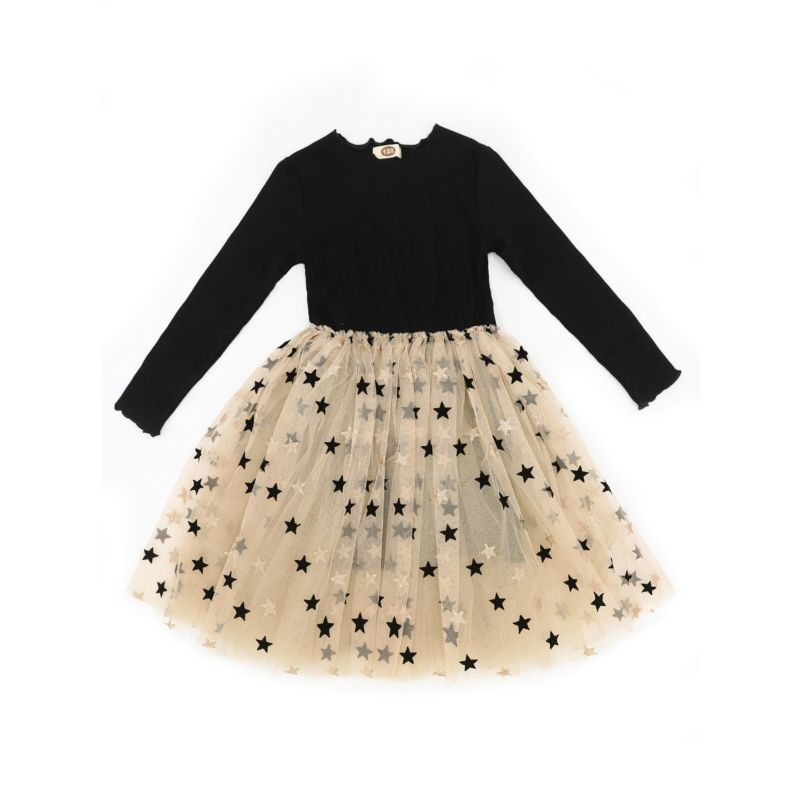 Frency Toddler Big Girl Tulle Patchwork Gold Stamping Princess Dress Kids Party Dress