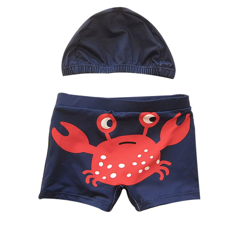 2-piece Summer Baby Toddler Boys Printed Swim Hat + Swimming Trunks Set