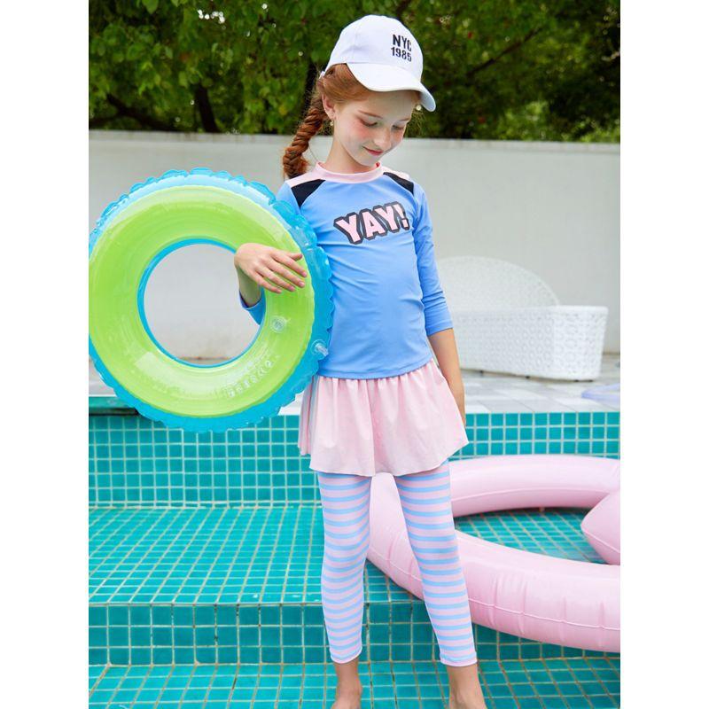 3-piece Toddler Big Girl Sun Protection Swimwear Set Swim Cap + Long-sleeved Top+ Pantskirt