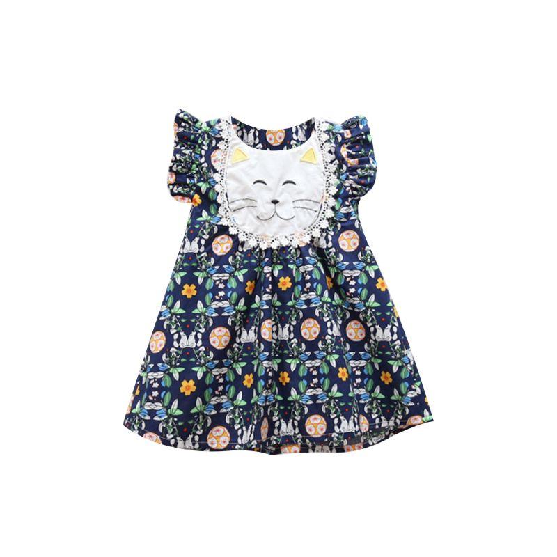 Cute Baby Girl Cat Flower Print Short Ruffle-sleeve Dress