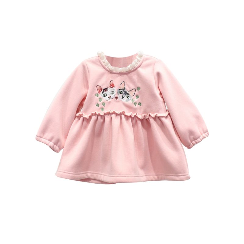 Winter Cat Embroidery Ruffle Collar Fleece-lined Dress Spanish Style Baby Girl Clothes