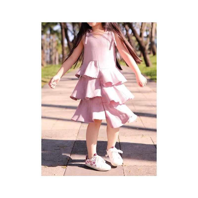 Pink Baby Little Girl Suspender Layered Asymmetrical Hemline Pleated Dress for Summer
