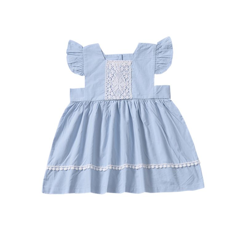 Summer Baby Little Girl Lace-trimmed Short Flutter Sleeve Casual Dress