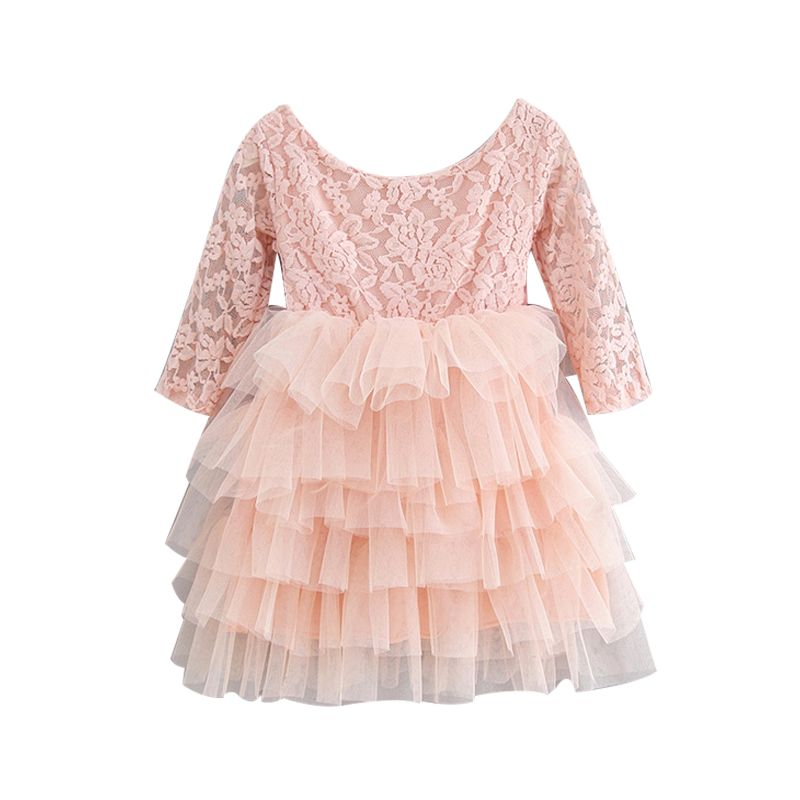 5-PACK Toddler Baby Girl Pink Big Bow Illusion Lace Tulle Backless Wedding Party Dress Kids Princess Dress
