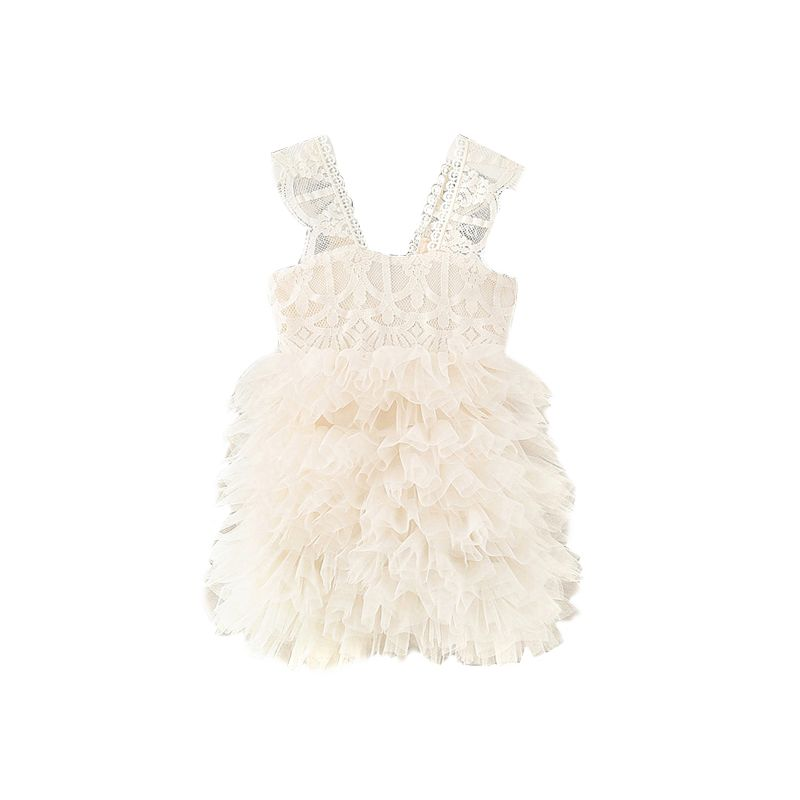 5-PACK White Mesh Lace Wedding Party Layered Suspender Tutu Bubble Dress for Infant Little Girls
