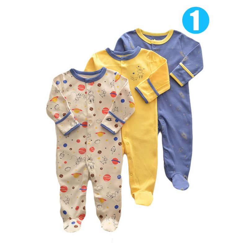 3-PACK Unisex Newborn Baby Mix Pattern Long-sleeved Footed Jumpsuit Overalls