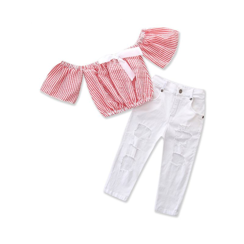 2-piece Fashion Baby Toddler Girl Short -sleeved Striped Off-shoulder Bow Crop Top + White Frayed Jeans Set