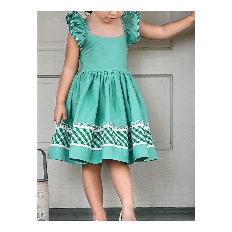 Infant Little Girl Lace-up Flutter Sleeve Green Causal Dress for Summer