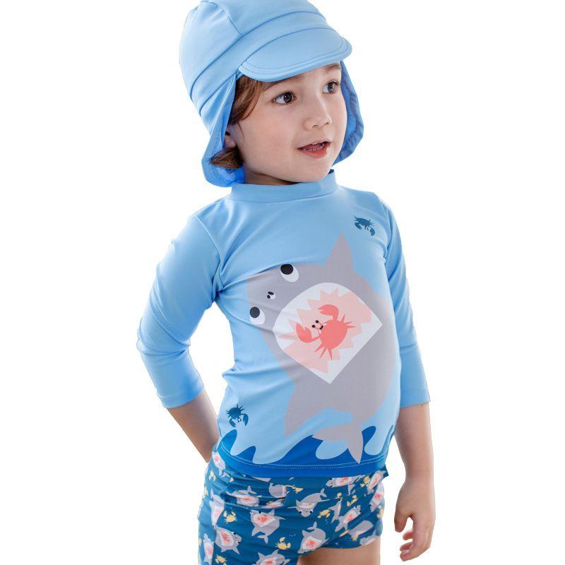 3-piece Toddler Big Boys Cartoon Shark Swimwear Set Top+Shorts+Swim Hat