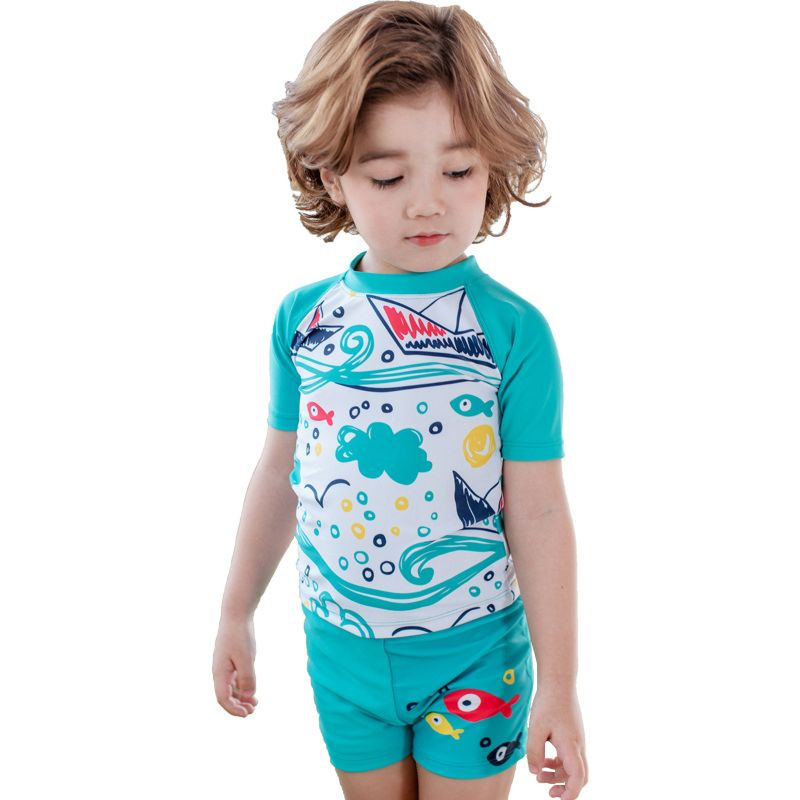 3-piece Little Big Boys Cartoon Sea World Swimwear Set Top+Shorts+Swim Hat