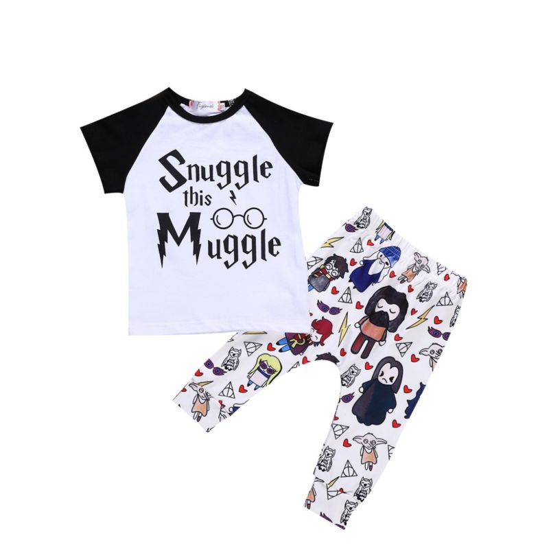 2-piece Baby SNUGGLE THIS MUGGLE Letters Print Short-sleeved T-shirt Top + Cartoon Print Pants Set