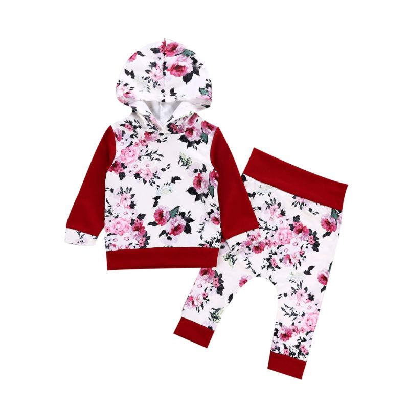 2-Piece Baby Girl Spring Collection Outfits Set Long-sleeved Flower Hoodie Top+Trousers